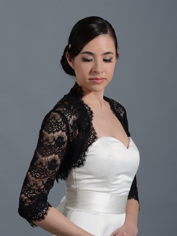 Black 3 4 sleeve bridal lace wedding bolero jacket 051n for Black lace jacket for wedding dress