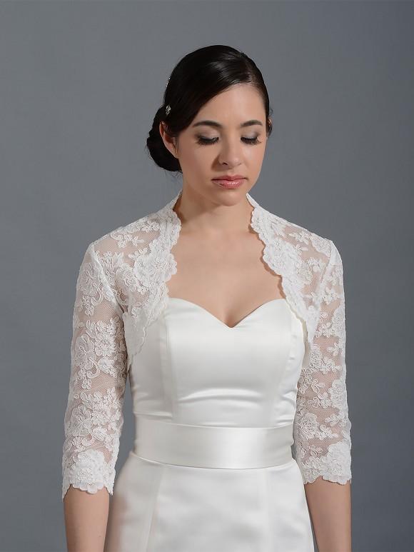 3 4 sleeve bridal alencon lace bolero jacket lace 074 for Lace shrugs for wedding dresses
