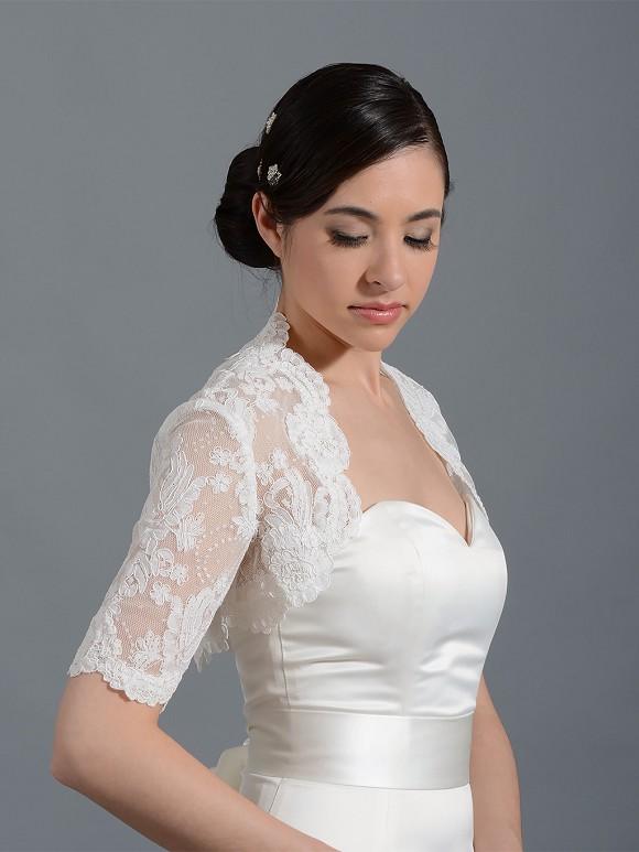 Elbow sleeve bridal alencon lace bolero jacket lace 078 for Bolero jacket for wedding dress