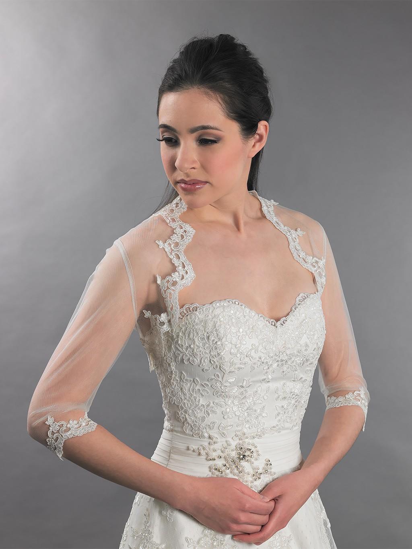 3 4 Sleeve Bridal Lace Bolero Jacket Lace 095