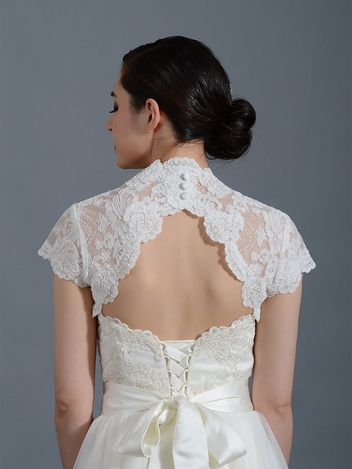 Ivory cap sleeve alencon lace bolero jacket keyhole back for Lace cap sleeve keyhole back wedding dress