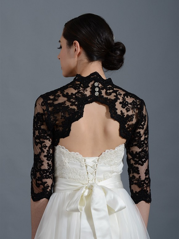 Black 3 4 sleeve alencon lace bolero with keyhole back for Black lace jacket for wedding dress