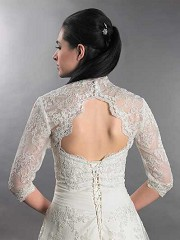 3/4 sleeve alencon lace bolero with keyhole back - Lace_099