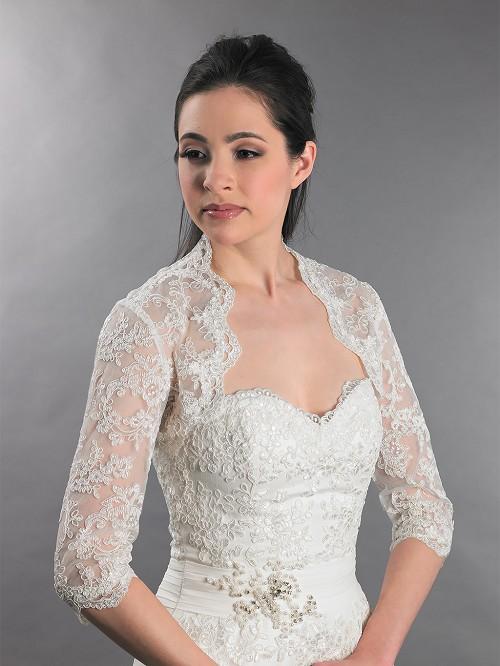 3 4 sleeve bridal lace wedding bolero jacket lace 080 for Lace shrugs for wedding dresses