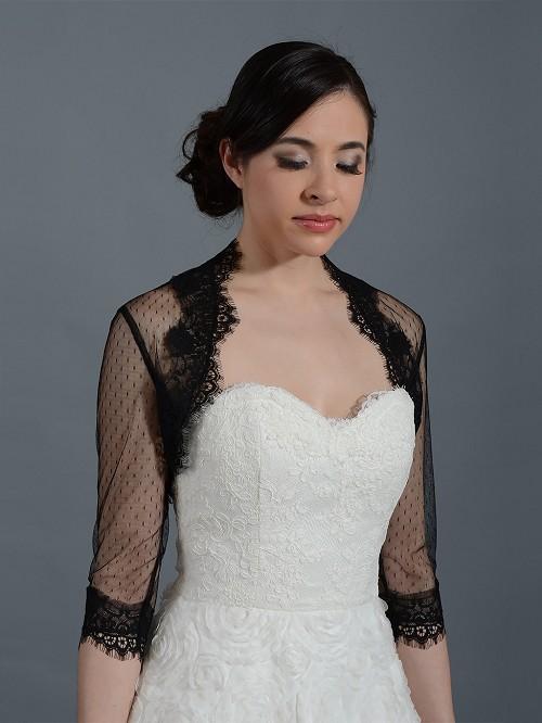 Black 3 4 sleeve bridal dot lace wedding bolero jacket for Black lace jacket for wedding dress