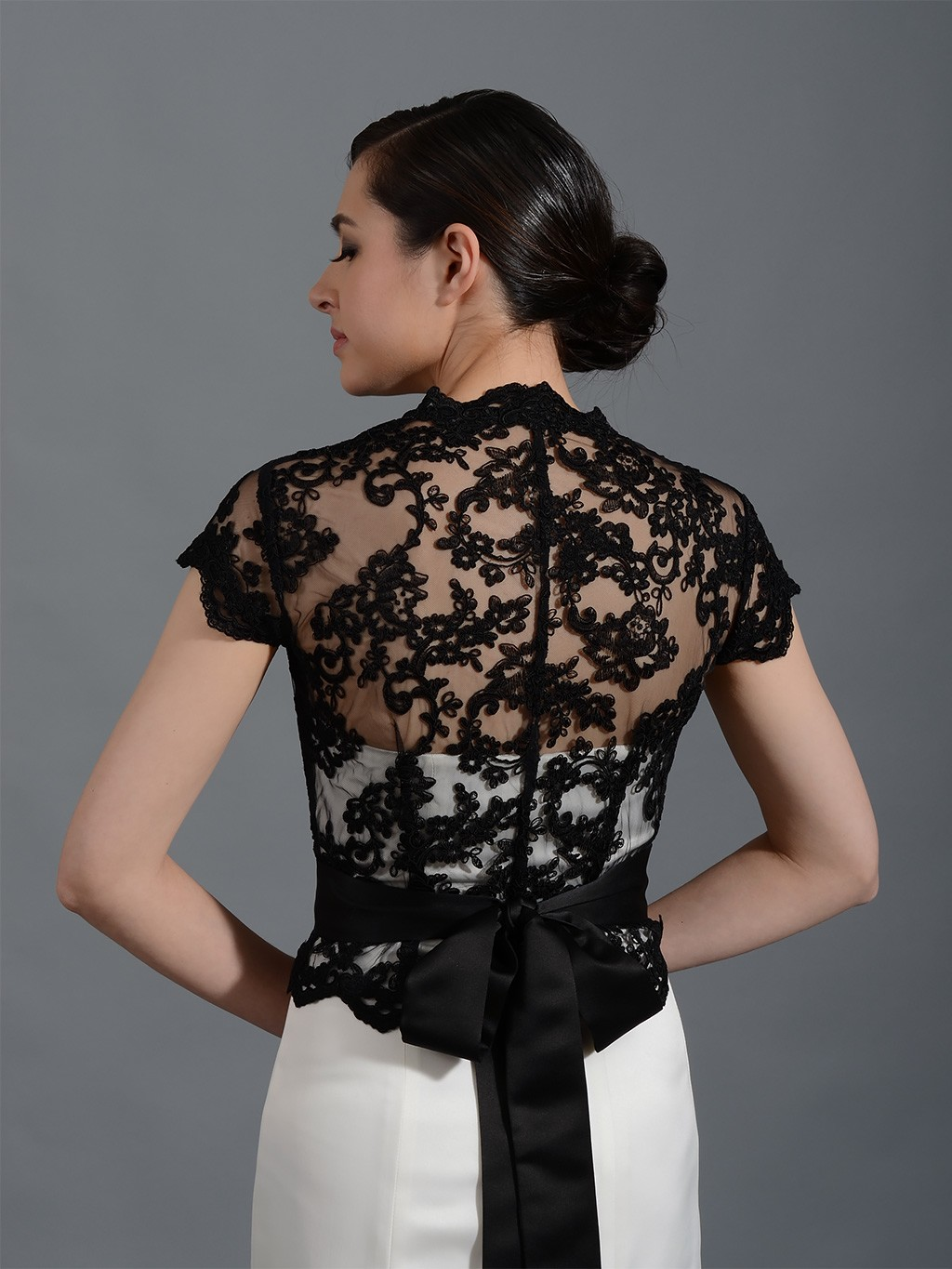 Front open black alencon lace wedding jacket bridal bolero for Wedding dress boleros and shrugs