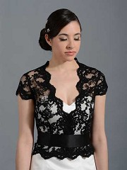 Front open Black Alencon Lace Wedding jacket Bridal Bolero shrug WJ005_Black
