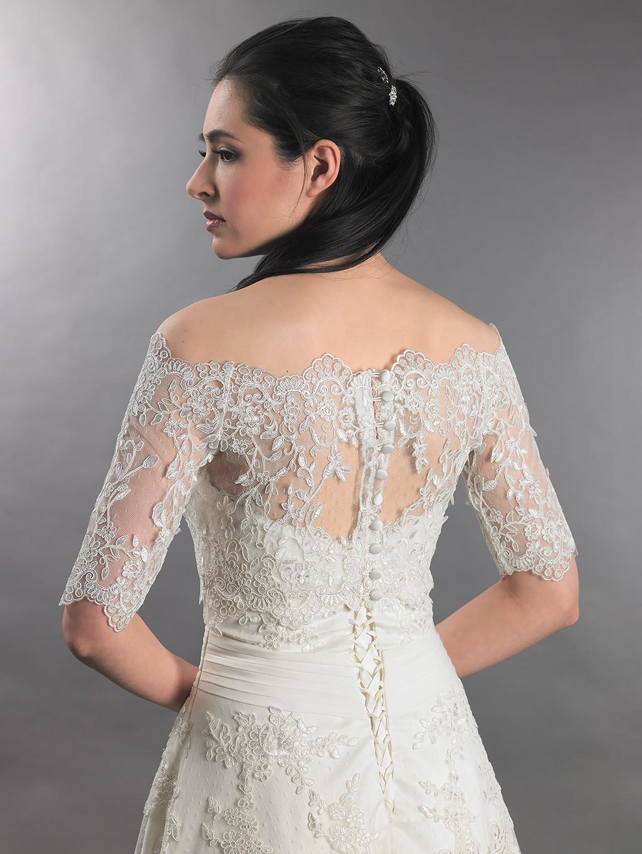 Off shoulder wedding jacket lace bolero wj010 for Lace shrugs for wedding dresses