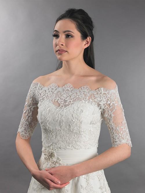 Off Shoulder Bridal Bolero Wedding Jacket Dot Lace WJ010