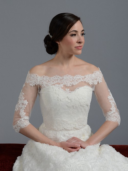 Off shoulder alencon lace bridal bolero wedding jacket for Wedding dress with shrug