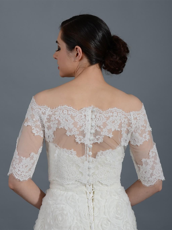 Off shoulder wedding jacket lace bolero wj008 for Lace shrugs for wedding dresses