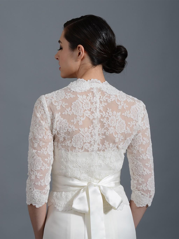 3 4 sleeve front open ivory alencon lace bolero jacket for Bolero jacket for wedding dress
