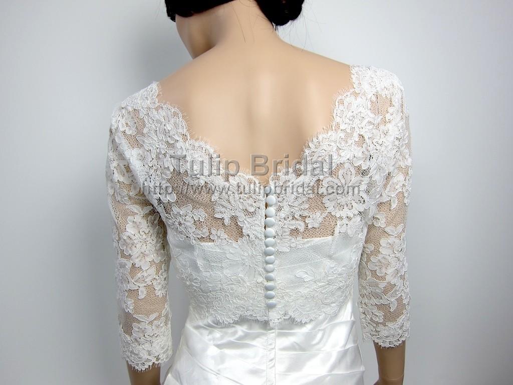 Lace bolero wedding jacket wj004 for Lace jackets for wedding dresses
