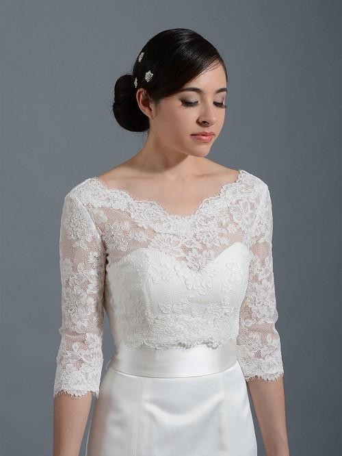 Lace bolero wedding jacket wj004 for Wedding dress lace jacket