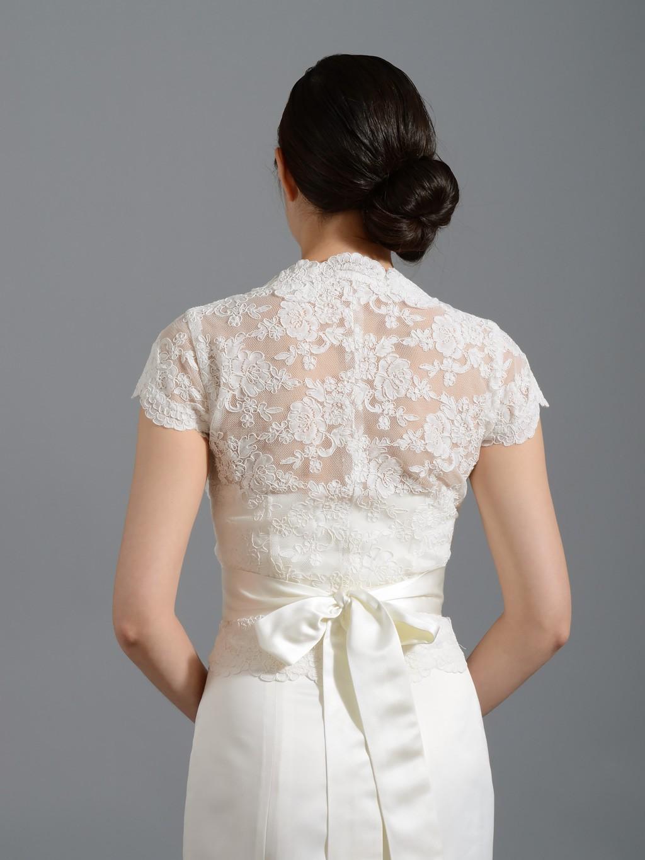 Front open Ivory Alencon Lace Wedding jacket Bridal Bolero