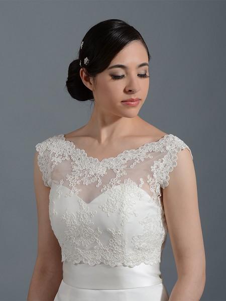 V neck re embroidered lace bridal bolero wedding jacket for Wedding dress lace jacket