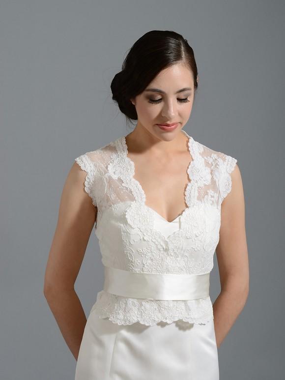 Front open ivory alencon lace wedding jacket bridal bolero for Lace shrugs for wedding dresses