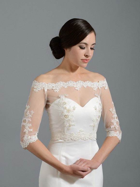 Off shoulder lace bridal bolero wedding jacket shrug wj018 for Wedding dress boleros and shrugs