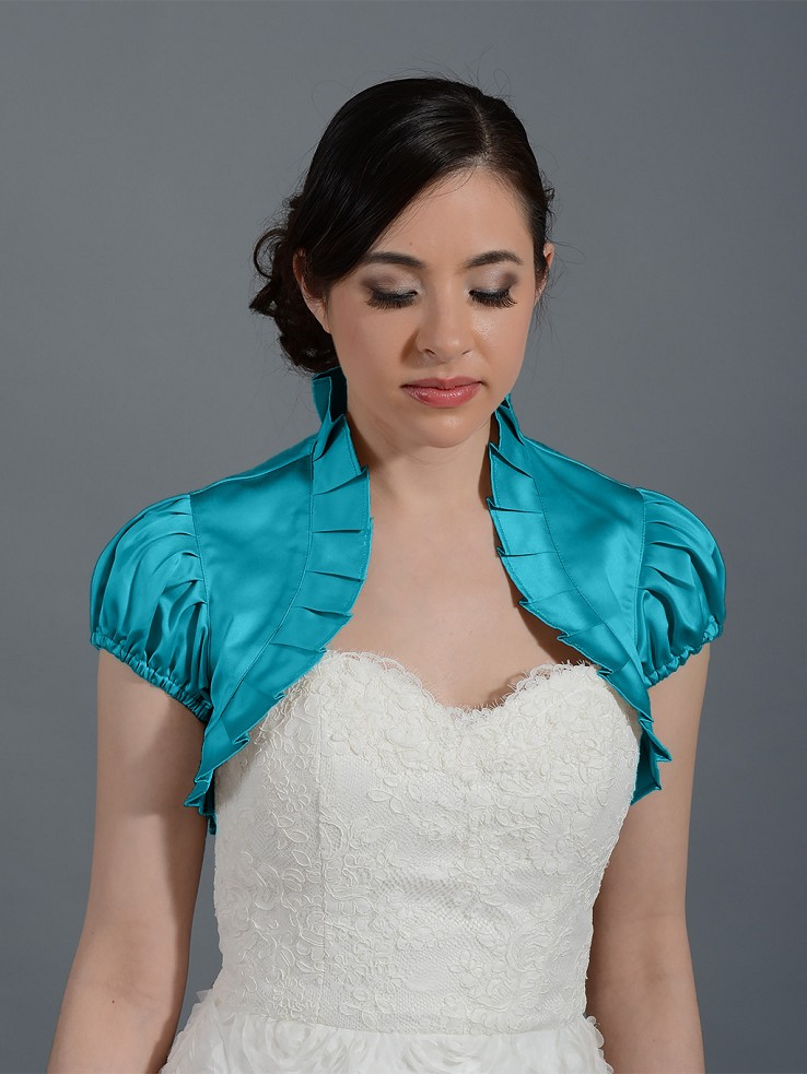 Teal short sleeve wedding satin bolero jacket