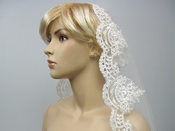 Mantilla bridal wedding veil elbow/fingertip V030 -available in ivory and white
