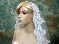 Bridal Mantilla veil elbow/fingertip/chapel V032 ivory/white