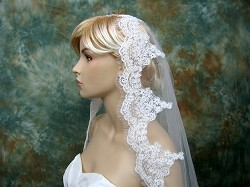 mantilla veil ivory elbow/fingertip/chapel alencon lace wedding veil V033