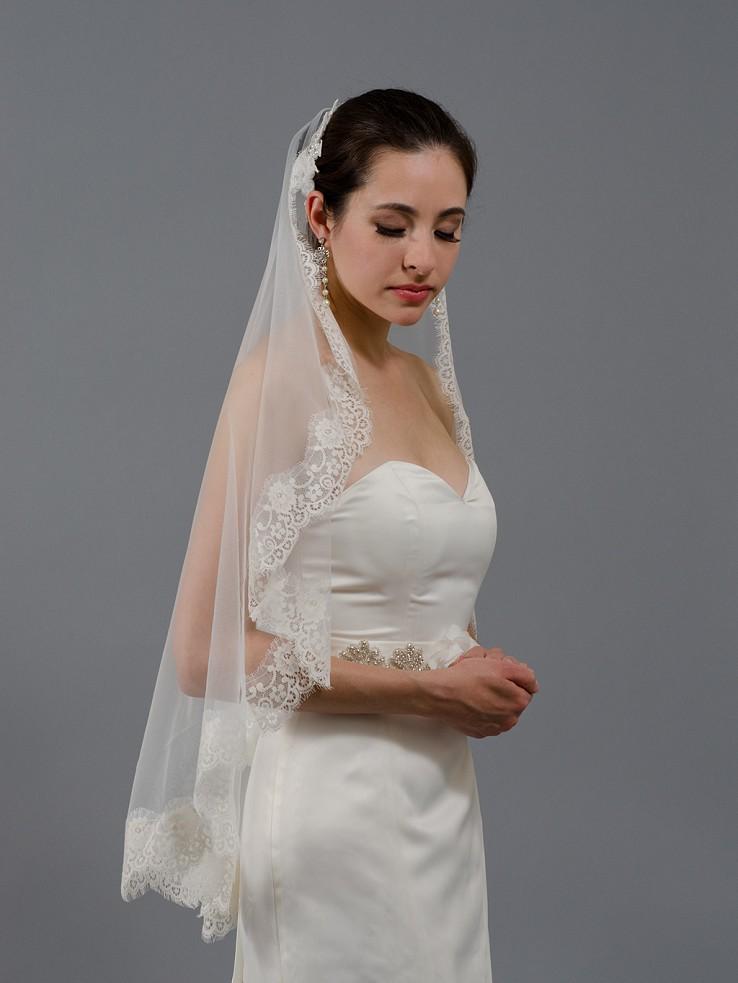 Wedding Mantilla Veil Light Ivory Bridal Veils V026