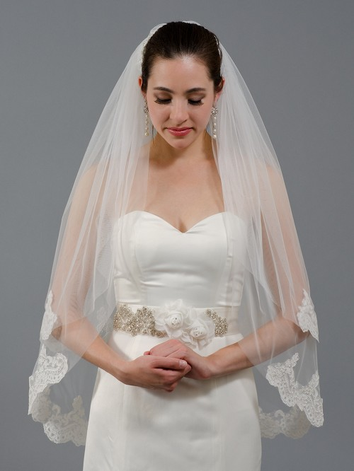 2 Tier Ivory Elbow Alencon Lace Wedding Veil V041