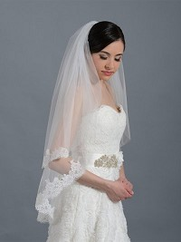 2-tier ivory elbow alencon lace wedding veil V042