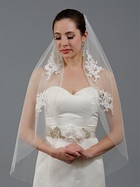 Ivory elbow wedding veil V046 venice lace
