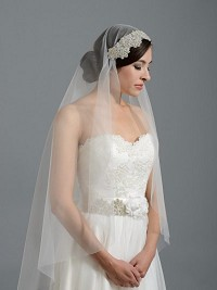 Ivory elbow wedding veil with rhinestone applique V048