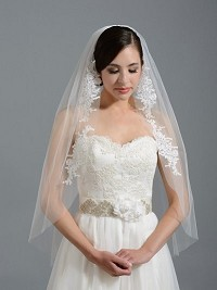 Ivory elbow wedding veil V051 alencon lace