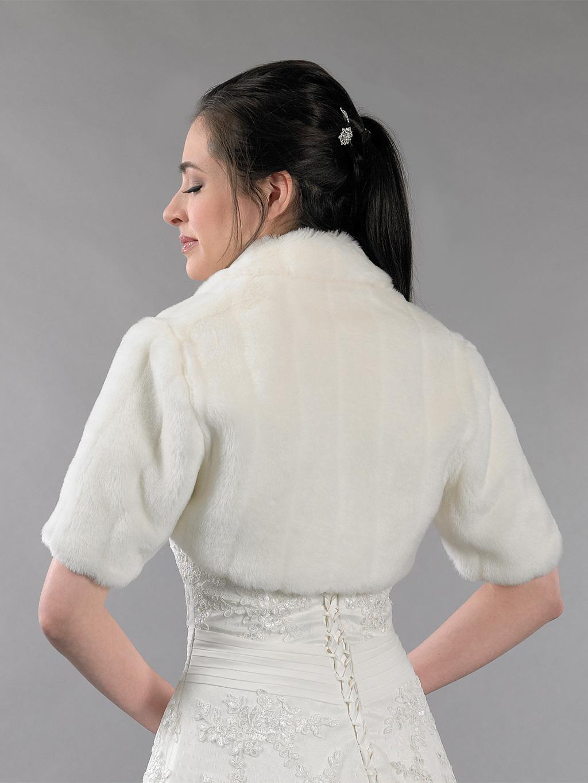Ivory Elbow Length Sleeve Faux Fur Jacket Shrug Bolero