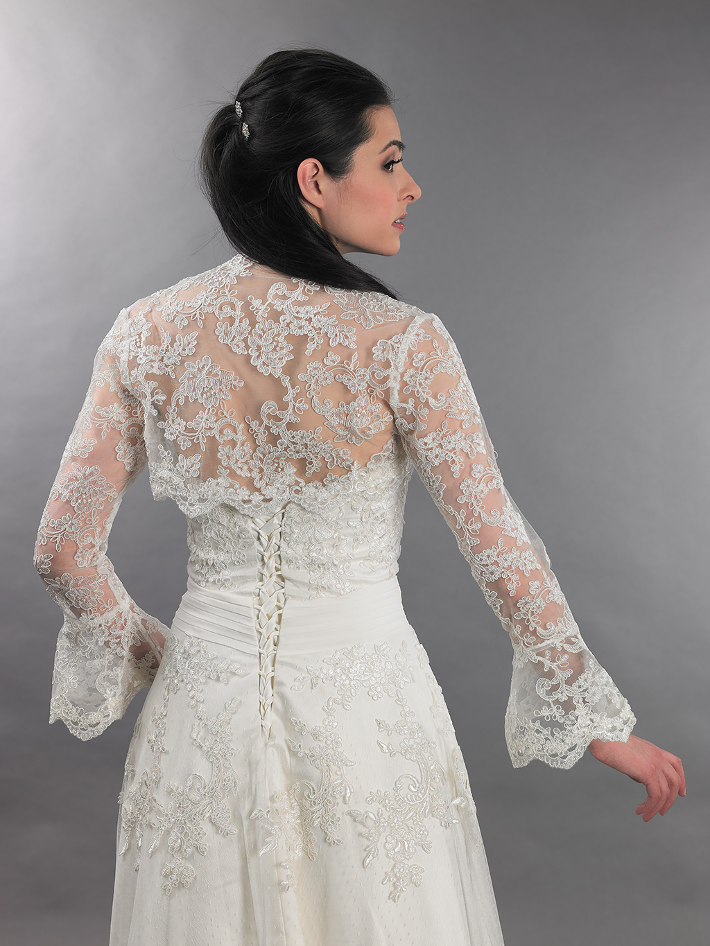 ivory long bell sleeve bridal reembroidered lace bolero