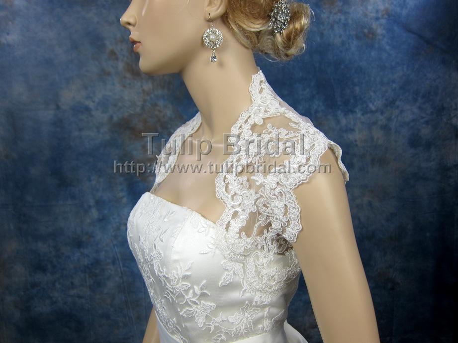 Sleeveless bridal keyhole back alencon lace bolero - Lace_098