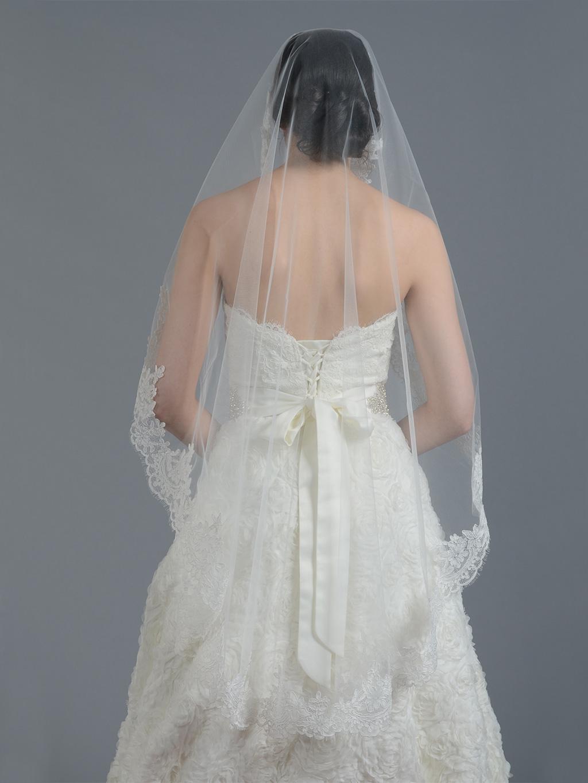 Ivory Wedding Veil Alencon Lace V045