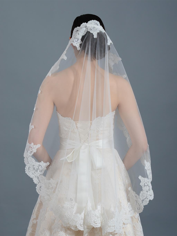 Ivory Wedding Veil Elbow Fingertip Chapel V032