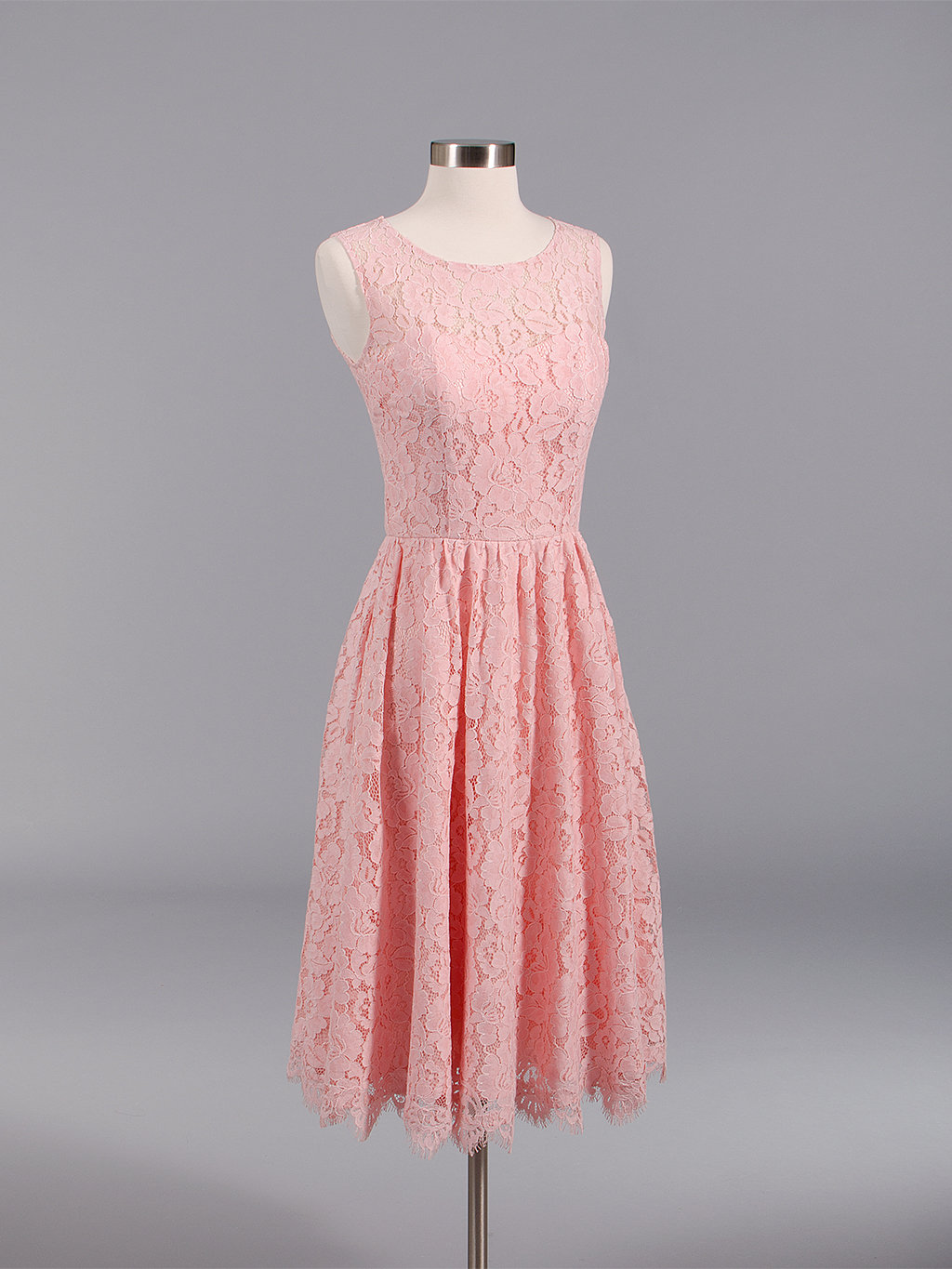 Lace bridesmaid dress pink BM007-Pink