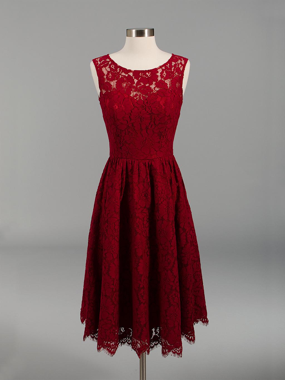 Lace bridesmaid dress wine red BM007-Winered-bm007-winered