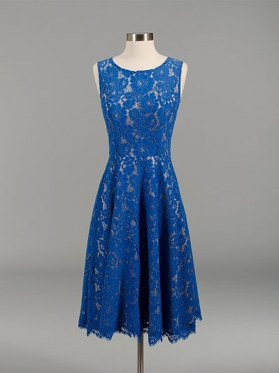 Lace bridesmaid dress blue BM007-Blue