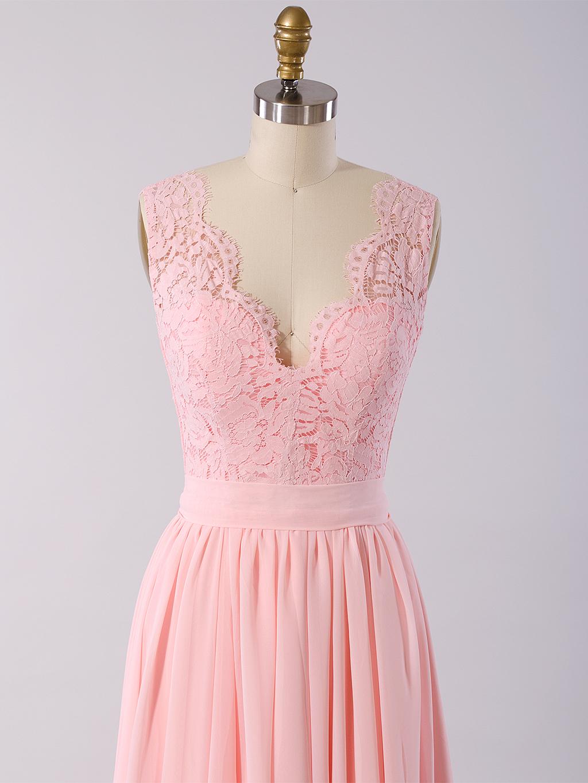 Lace Bridesmaid Dress Pink Bm011 Pink