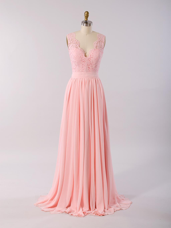 Lace bridesmaid dress pink BM011-Pink