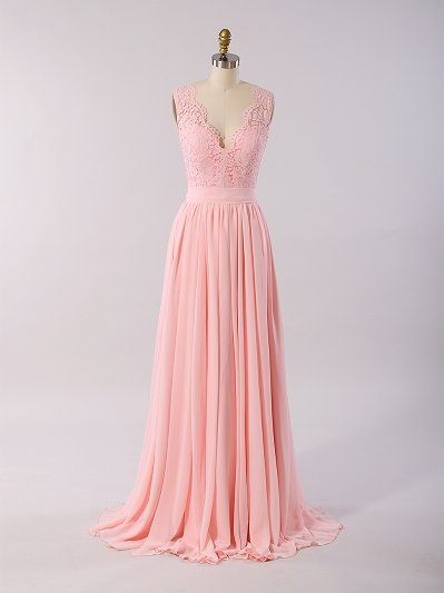 Lace bridesmaid dress pink BM011-Pink