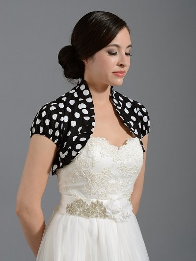 Black cotton wedding bolero jacket polka dot Cotton_001