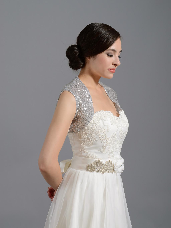 Sequin Silver Wedding Bolero Jacket Sequin 001