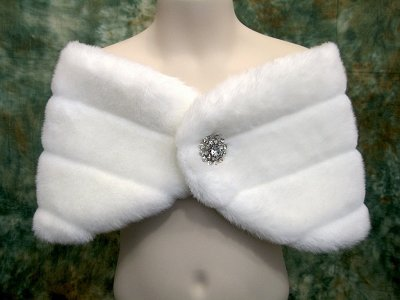 Ivory flower girl faux fur wrap shrug stole shawl cape
