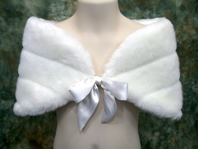White flower girl wrap shrug stole shawl cape FW002F_White