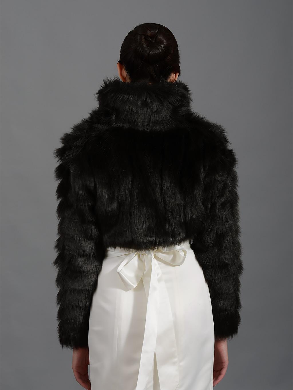 Black Faux Fur Jacket Shrug Bolero Wrap Fb002 Black