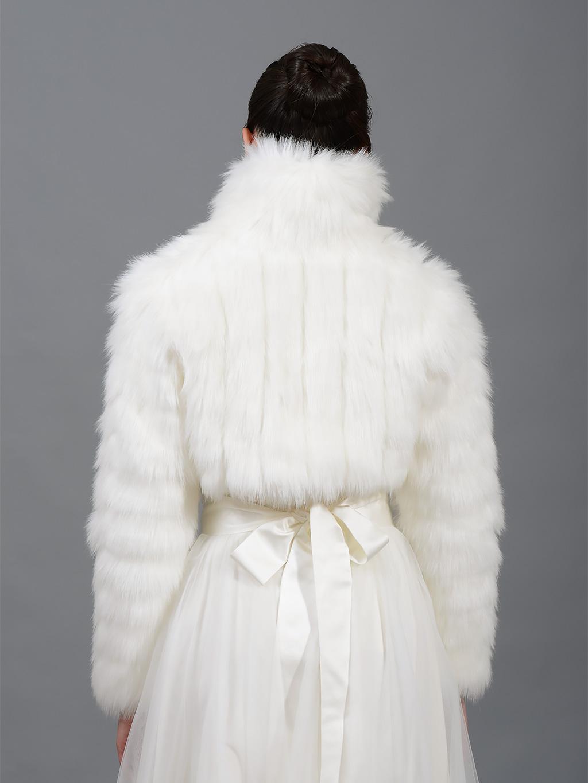 Ivory Faux Fur Jacket Shrug Bolero Wrap Fb002 Ivory