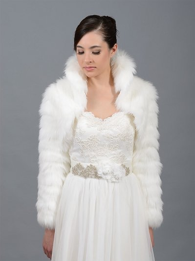 Ivory faux fur jacket shrug bolero FB002_Ivory
